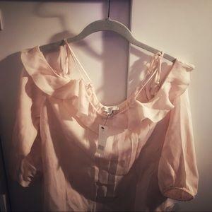 Joie Tops - Joie Eugene Silk Off Shoulder Pink Blouse